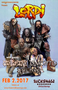 LORDI with guests - February 2, 2017 at Rickshaw Theatre. Vancouver BC @ Rickshaw Theatre |  |  |