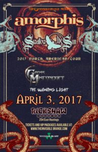 Amorphis with Swallow The Sun, Gross Misconduct and The Waning Light - April 3, 2017. Rickshaw Theatre. Vancouver, BC @ Rickshaw Theatre |  |  |