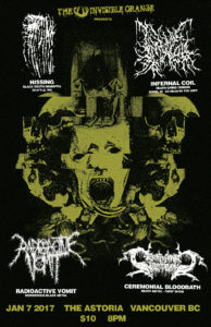 Hissing, Infernal Coil, Radioactive Vomit, Ceremonial Bloodbath. Jan 7th @ Astoria Hastings |  |  |