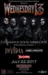 Wednesday 13 w/ Invidia, Gabriel & The Apocalypse & Hellchamber! @ Rickshaw Theatre
